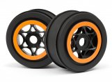 #107855 AH-64 WHEEL BLACK/ORANGE (42x83mm/2pcs)