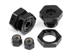 ALUMINUM WHEEL HEX HUB SET 17MM (BLACK/4PCS)