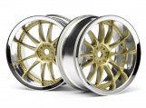 #3298 WORK XSA 02C WHEEL 26mm CHROME/GOLD (6mm OFFSET)