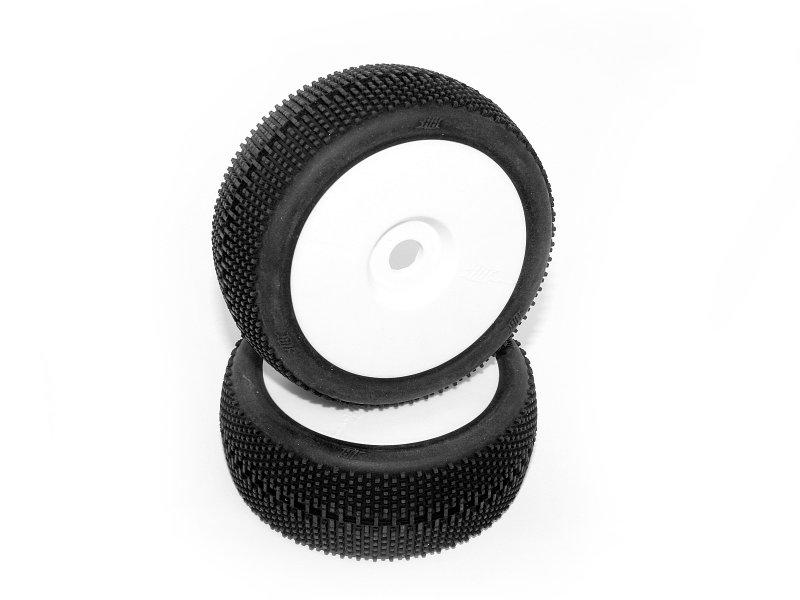 #67597 HB MEGABITE Mounted Tire (White/White Wheel/ 1/8 Buggy/2pcs)