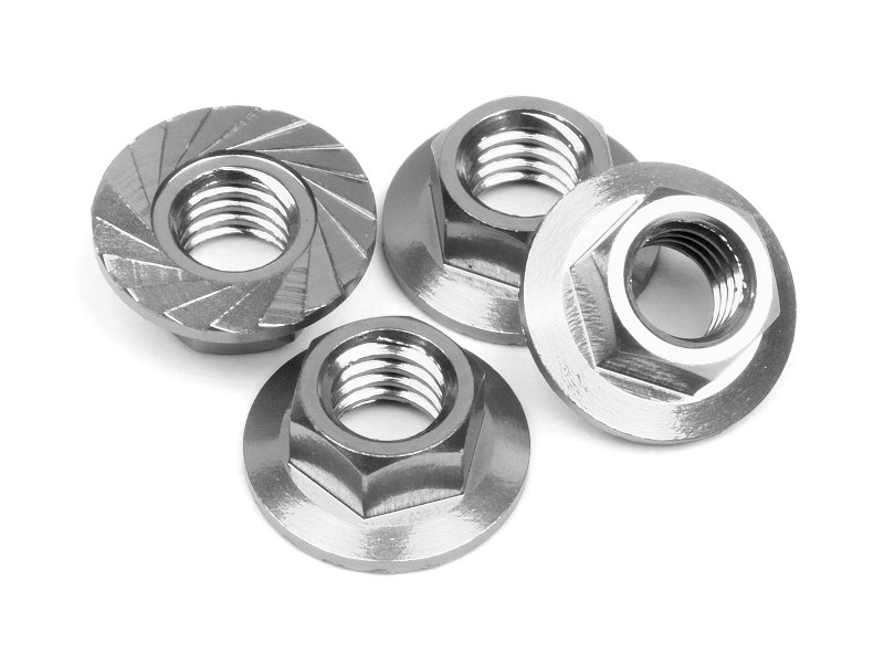 Serrated flange nut m silver pcs