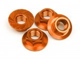 #87267 SERRATED FLANGE NUT M4 (ORANGE/4pcs)