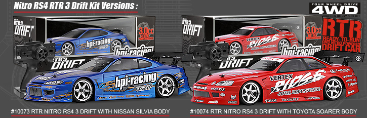 10073 RTR NITRO RS4 3 DRIFT WITH NISSAN SILVIA BODY