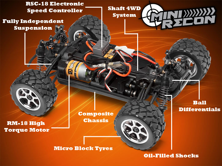 hpi mini recon 1 18 4wd electric monster truck hobbies australia rh hobbiesaustralia com au RC Car Receiver Wiring Diagram Electric RC Car Wiring Diagram